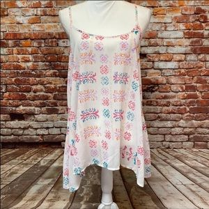 Charming Charlie, White with Pastel Print Cami. M.